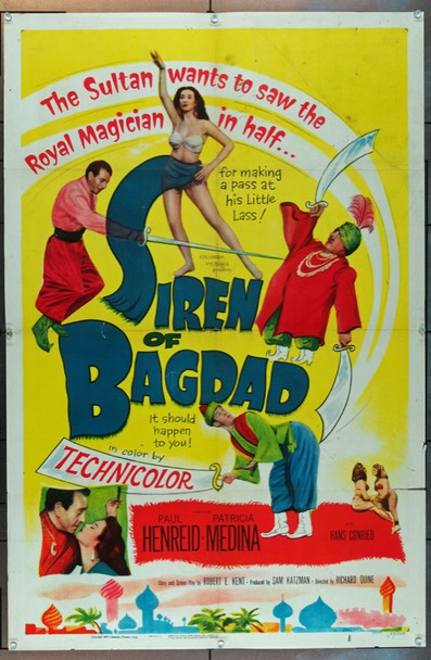 SIREN OF BAGDAD (1953) 750 Columbia Pictures One Sheet Poster   27x41  Folded  Very Good Condition