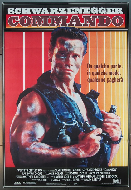 COMMANDO (1985) 1726 20th Century Fox Original Italian Due Foglie   39x55  Very Fine