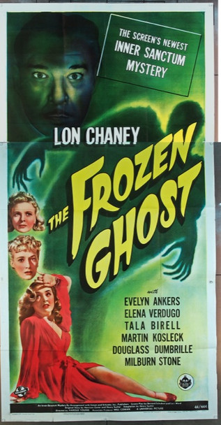 FROZEN GHOST, THE (1945) 7807 Universal PIctures Original U.S. Three-Sheet Poster (41x81) Folded  Very Fine Plus Condition