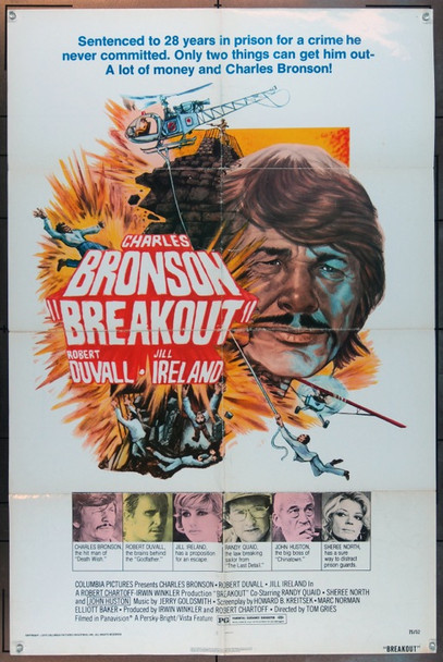 BREAKOUT (1975) 11718 Original Columbia Pictures Style A One Sheet Poster (27x41).  Folded.  Good Condition.