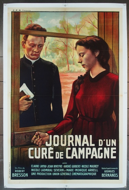 JOURNAL D'UN CURE DE CAMPAGNE  (1954) 12721 Original French 32x47  Linen Backed  Fine Plus Condition
