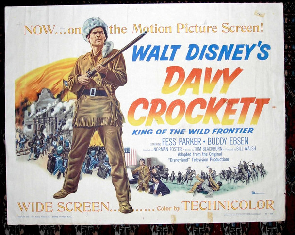 DAVY CROCKETT, KING OF THE WILD FRONTIER (1955) 845 Buena Vista Original U.S. Half Sheet Poster (22x28)  Fine Plus Condition