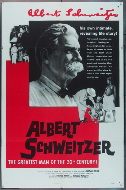 ALBERT SCHWEITZER (1957) 1826 Louis De Rochemont U.S. One Sheet Poster (27x41) Folded  Very Fine