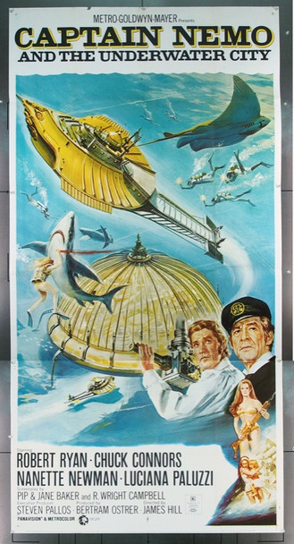 CAPTAIN NEMO AND THE UNDERWATER CITY (1970) 16436 MGM Original Three Sheet Poster   41x81  Folded.  Very Fine Condition.