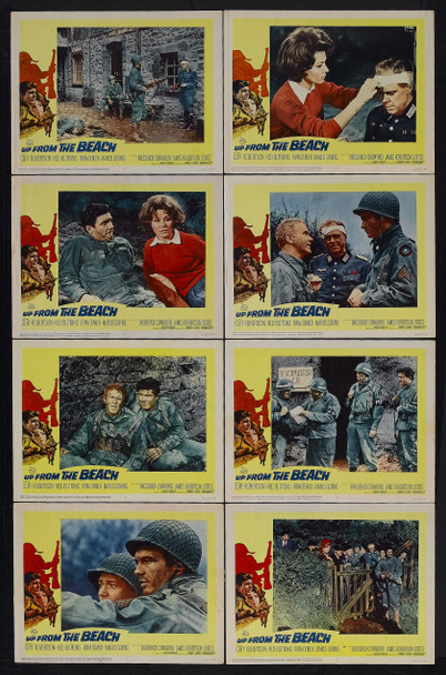 UP FROM THE BEACH (1965) 16462 20th Century Fox Lobby Card Set  Eight Individual Cards  Average Used Condition  Very Good Plus to Very Fine
