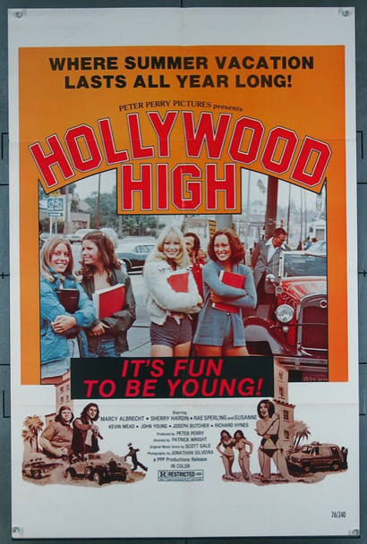 HOLLYWOOD HIGH (1976) 1975 Perry Pictures Original One-Sheet Poster  (27x41)