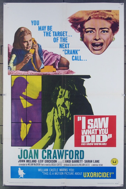 I SAW WHAT YOU DID (1965) 3354 Universal Pictures Original One-Sheet Poster (27x41)  Folded  Very Fine