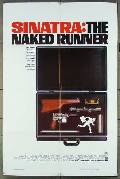 NAKED RUNNER, THE (1967) 18544 Original Warner Brothers One Sheet Poster (27x41).  Folded.  Fine Plus To Very Fine.