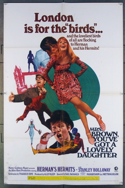 MRS. BROWN, YOU'VE GOT A LOVELY DAUGHTER (1968) 18542 Original MGM One Sheet Poster (27x41).  Folded.  Fine Plus Condition.