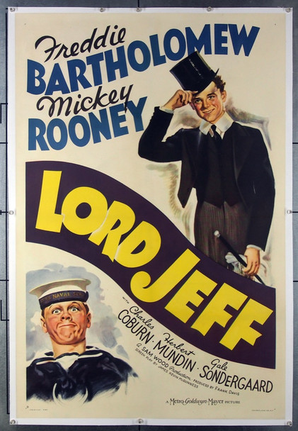 LORD JEFF (1938) 8347 MGM Original One-Sheet Poster (27x41) Linen Backed Restored to Very Fine Condition