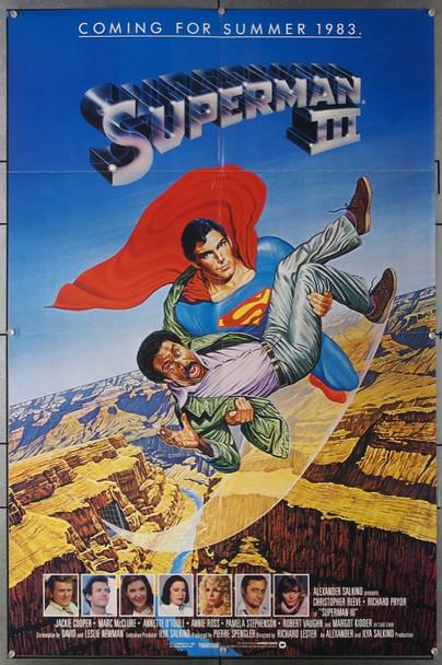 SUPERMAN III (1982) 3089 Original Warner Brothers Advance One Sheet Poster (27x41).  Folded.  Near Mint.