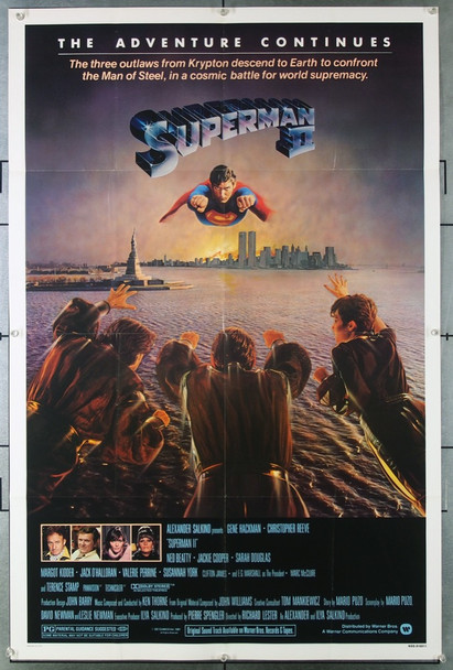 SUPERMAN II (1981) 3090  Christopher Reeve as Superman Movie Poster  Very Fine Condition  Folded Original Warner Brothers One Sheet Poster (27x41).  Folded.  Very Fine.