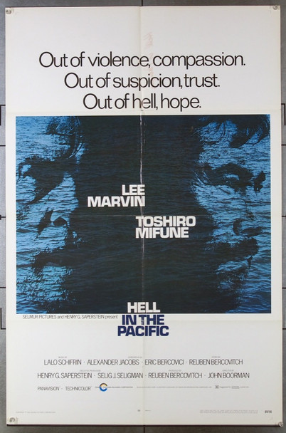 HELL IN THE PACIFIC (1969) 3060 Cinerama Releasing Original One-Sheet Poster (27x41) Folded  Very Good Condition