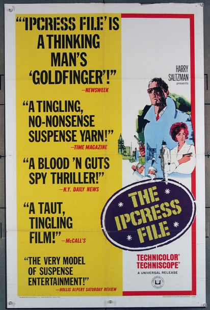 IPCRESS FILE, THE (1965) 3580 Universal Pictures Original One-Sheet Poster (27x41) Folded  Very Good Plus Condition