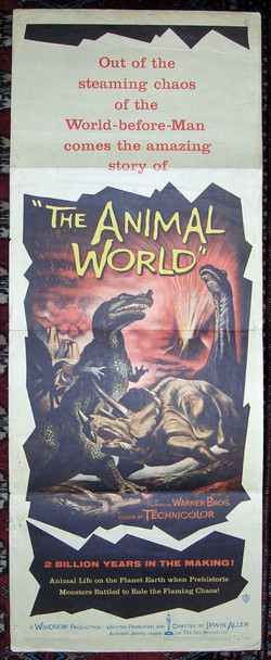 ANIMAL WORLD, THE (1956) 7132 Warner Brothers Original Insert Poster (14x36)  Folded  Good Condition  Average Used
