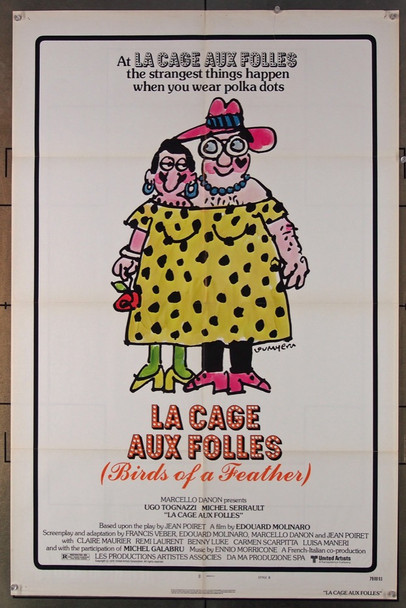 LA CAGE AUX FOLLES (1979) 3106 United Artists Original US One-Sheet Poster (27x41) Folded  Very Good Condition