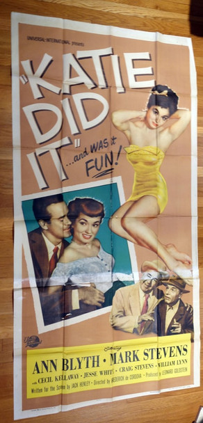 KATIE DID IT (1951) 13457 Universal Pictures Original Three Sheet Poster (41x81) Folded  Very Good Condition
