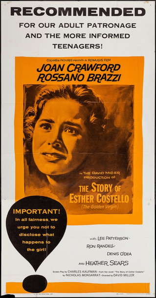 STORY OF ESTHER COSTELLO, THE (1957) 9734 Columbia Pictures Original Three Sheet Poster (41x81) Folded  Average Used Condition