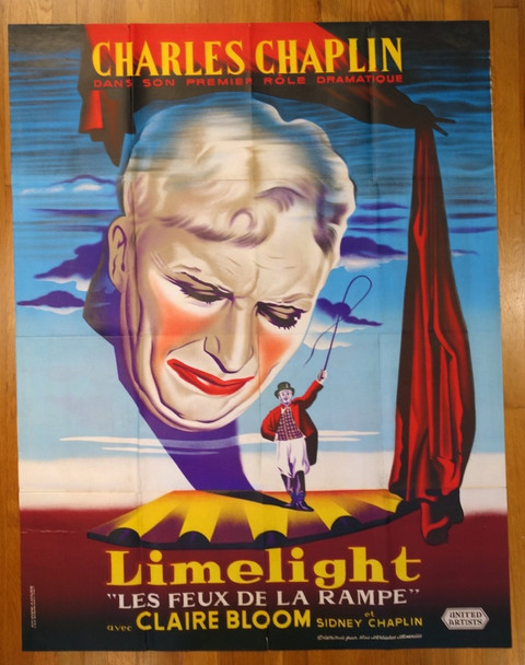 LIMELIGHT (1952) 26487 United Artists Original French Grande Poster (47x63) Folded  Very Fine Condition
