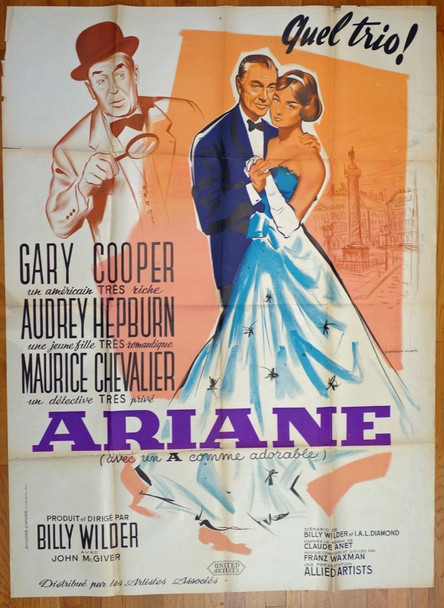 LOVE IN THE AFTERNOON (1957) 26488 Allied Artists Original French Grande Poster (47x63) Folded  Very Good Plus Condition  Theater-Used