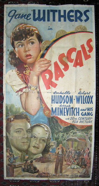 RASCALS (1938) 20890 20th Century Fox Original Three Sheet Poster  Backed on Kraft Paper.  Fair to Good Condition