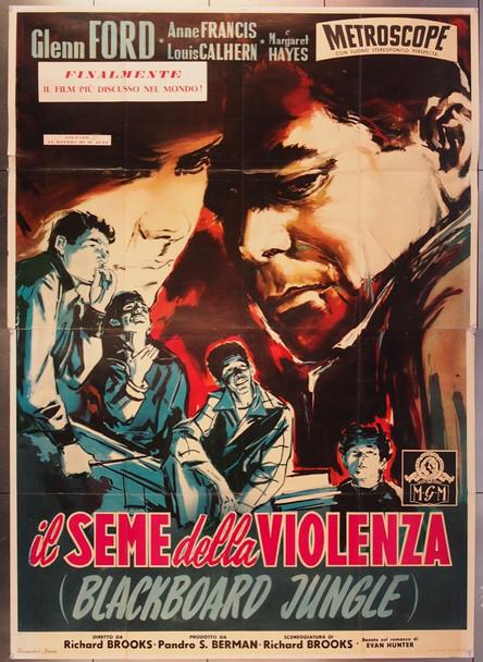 BLACKBOARD JUNGLE, THE (1955) 26632 MGM Original Italian 79x55 Poster  Folded  Very Fine Condition
