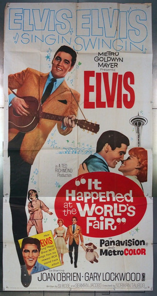 IT HAPPENED AT THE WORLD'S FAIR (1963) 9463 MGM Original Three Sheet Poster (41x81) Theater-Used  Very Good Condition