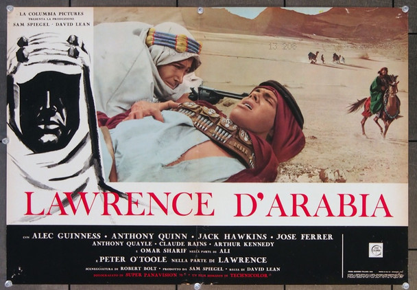 LAWRENCE OF ARABIA (1962) 26644 Columbia Pictures Original Italian 18x27  Folded  Very Fine Condition  Early Re-release of 1963