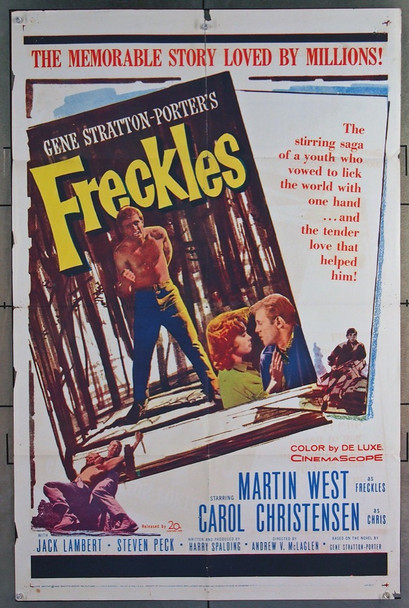 FRECKLES (1960) 11021 20th Century Fox Original One-Sheet Poster  (27x41) Folded  Good Condition