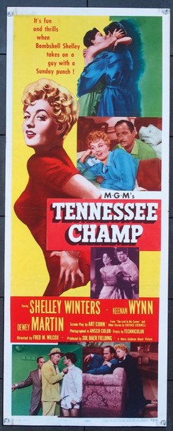 TENNESSEE CHAMP (1954) 26268 MGM Original Insert Card Poster (14x36) Fine Plus Condition  Folded  Theater Used