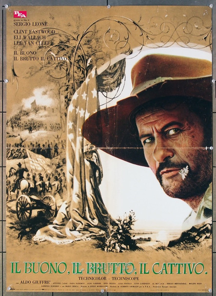 GOOD, THE BAD AND THE UGLY, THE (1968) 26634 United Artists Original Italian 26x37  Folded  Fine Plus to Very Fine Condition