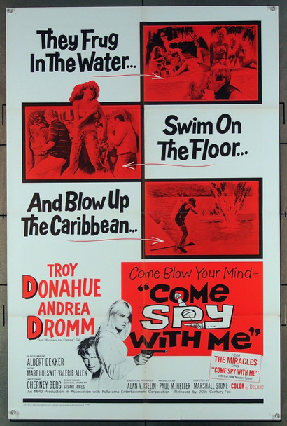 COME SPY WITH ME (1967) 18513 20th Century Fox Original One-Sheet Poster (27x41)  Folded