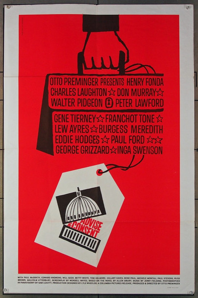 ADVISE AND CONSENT (1962) 9541 Columbia Pictures Original U.S. One-Sheet Poster (27x41) Folded  Very Fine