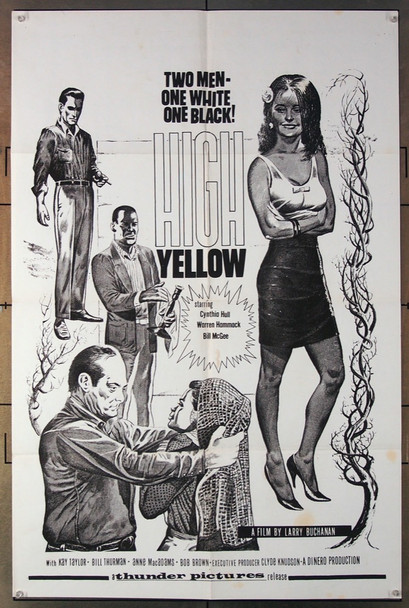 HIGH YELLOW (1965) 3317 Thunder Pictures First Release Original One-Sheet Poster (27x41) Folded  Very Good to Fine Condition