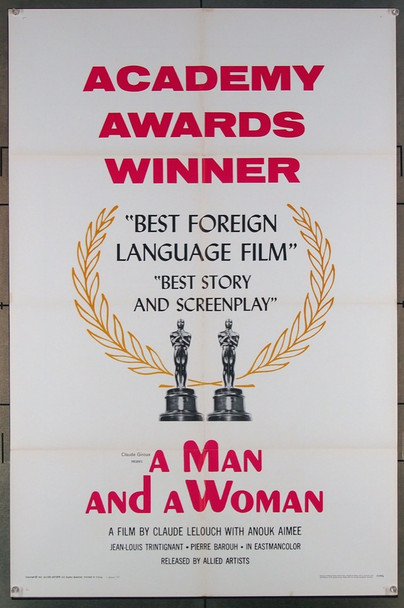MAN AND A WOMAN, A (1966) 18536 Original Allied Artists 1967 Style B Academy Awards One Sheet Poster (27x41).  Folded.  Very Fine.