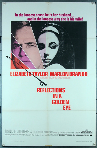 REFLECTIONS IN A GOLDEN EYE (1967) 18553 Original Warner Brothers One Sheet Poster (27x41).  Folded.  Fine Condition