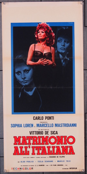 MATRIMONIO ALL'ITALIANA (1964) 26804 Original Italian Locandina Poster  First Italian Release  (13x27)  Folded  Very Fine