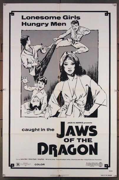 JAWS OF THE DRAGON (1976) 26900 Worldwide Entertainment Original One-Sheet Poster  (27x41)  Folded  Fine Plus to Very Fine Condition