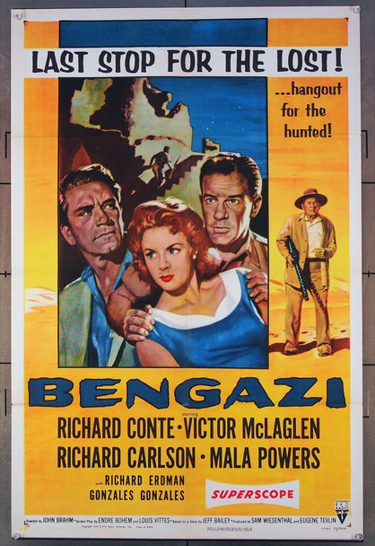 BENGAZI (1955) 22592 RKO Original One-Sheet Poster  (27x41) Folded  Very Fine Plus Condition