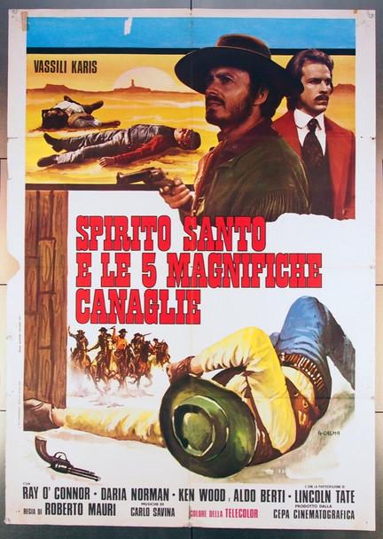 SPIRITO SANTO E LE 5 MAGNIFICHE CANAGLIE (1972) 26792 Original Italian Two-Foglio Poster (39x55)  Folded Very Good Condition