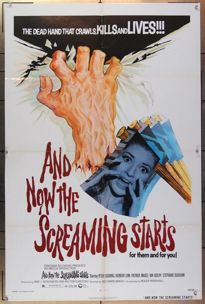 AND NOW THE SCREAMING STARTS (1973) 15286 Cinerama Releasing Original One-Sheet Movie Poster  Folded  (27x41)  Very Good Plus Condition