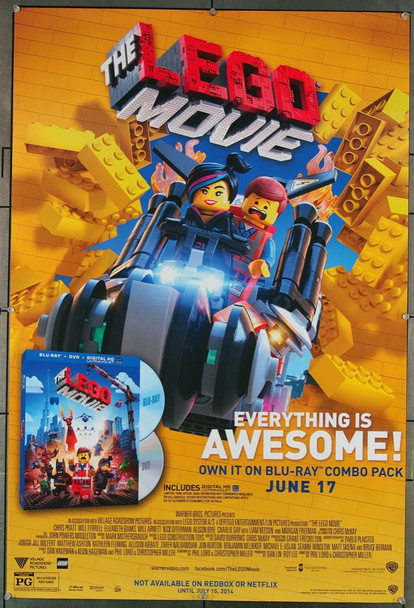 LEGO MOVIE, THE (2014) 27012 Warner Brothers Original Blu-Ray Release Promotional Poster  (27x41)  Rolled  Very Fine Condition