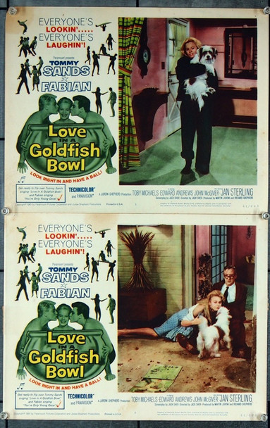 LOVE IN A GOLDFISH BOWL (1961) 27023 Paramount Pictures Original Scene Lobby Cards (11x14)  Two Cards  Fair to Very Good Condition