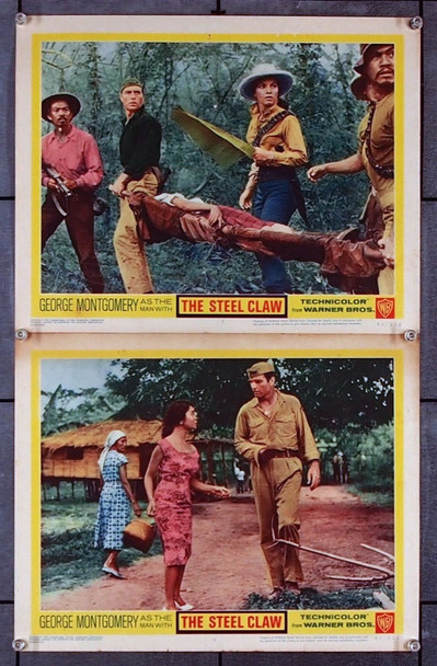 STEEL CLAW, THE (1961) 27030 Warner Brothers Original Scene Lobby Cards (Two 11x14 cards)  Very Good Condition