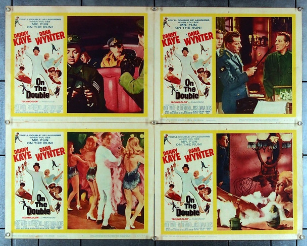 ON THE DOUBLE (1961) 27025 Paramount Pictures Original Scene Lobby Cards (11x14) Group of Four Individual Cards  Fine Condition