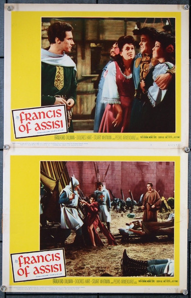 FRANCIS OF ASSISI (1961) 27020 Original 20th Century Fox Scene Lobby Cards (Two 11x14 Cards)  Fine Plus Condition  Theater-Used