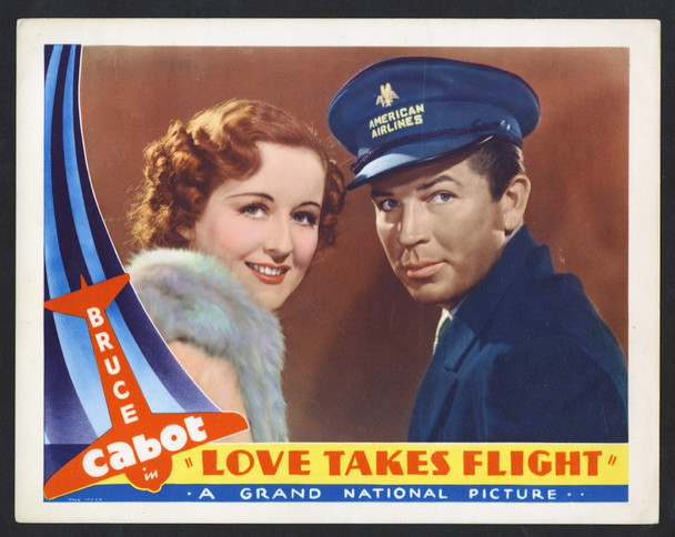 LOVE TAKES FLIGHT (1937) 27016 Grand National PIctures Original Scene Lobby Card (11x14) Very Fine Condition  AMERICAN AIRLINES!