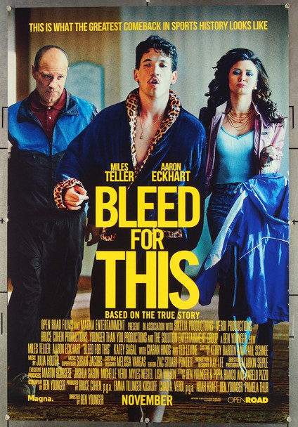 BLEED FOR THIS (2016) 26731 Solution Entertainment Group Original One-Sheet Poster (27x40) Rolled  Very Fine Condition
