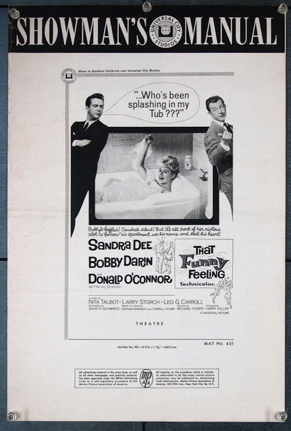 THAT FUNNY FEELING (1965) 27047 Universal Pictures Original Pressbook (12x18)  12 pages  No cuts.  Very Fine Condition