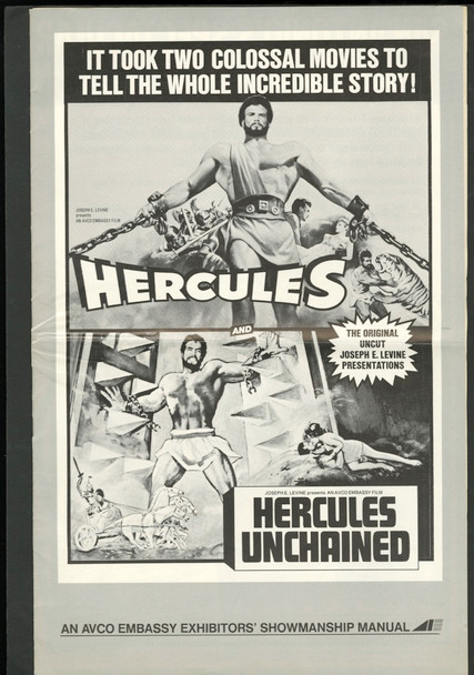 HERCULES UNCHAINED (1959) 27040 Warner Brothers Re-release double-feature pressbook with HERCULES UNCHAINED